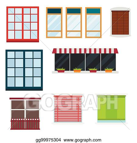 Diffe Types House Windows Elements Flat Style Gl Frames Construction Decoration Apartment Vector Ilration