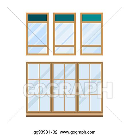 Clip Art Vector - Different types house windows elements isolated ...