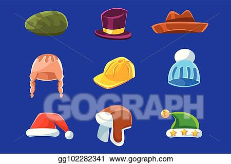 9f9a56b1c39a6 Different Types Of Hats And Caps, Warm Classy For Kids Adults Set Cartoon  Colorful Vector Clothing Items