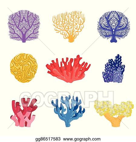 Vector illustration different types of tropical reef coral set different types of tropical reef coral set publicscrutiny Images
