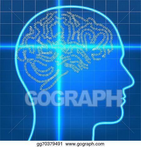 Stock illustration digital artificial brain on scan over blueprint digital artificial brain on scan over blueprint paper malvernweather Choice Image