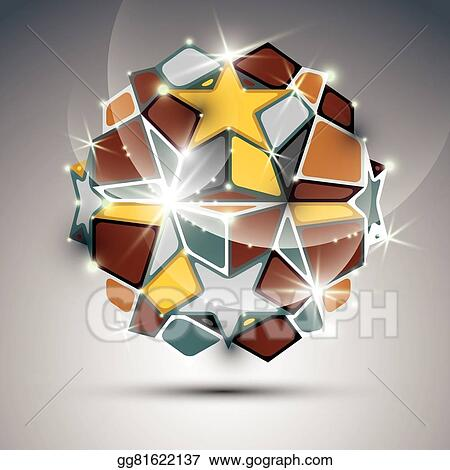 Vector Illustration Dimensional Metal Dazzling Orb With Gold Stars Vector Festive Geometric Illustration Eps10 Shiny Stone Eps Clipart Gg81622137 Gograph