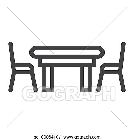 Miraculous Eps Illustration Dining Table Line Icon Furniture And Download Free Architecture Designs Scobabritishbridgeorg