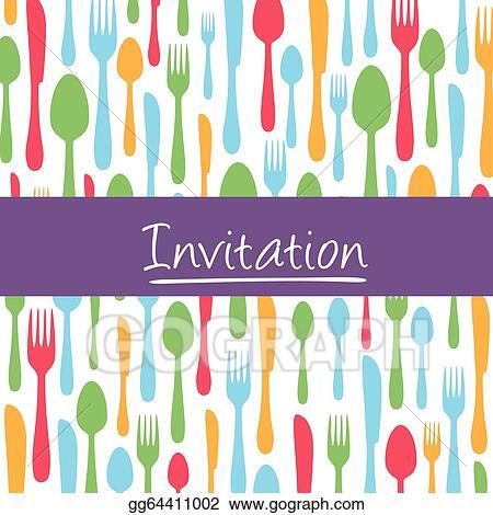 Eps Vector Dinner Invitation Card With Cutlery Stock