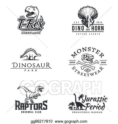 vector clipart dino logo set dinosaur logotype raptor sport