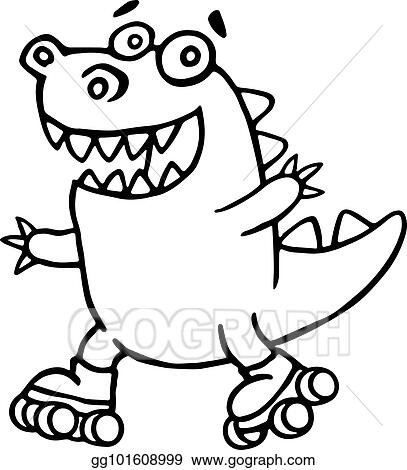 clip art vector dino racing on rollerblades in the park stock eps rh gograph com Frog Prince Frog Silhouette