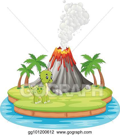 vector stock dinosaur and volcano eruption illustration stock rh gograph com clipart volcano erupting clipart volcano erupting
