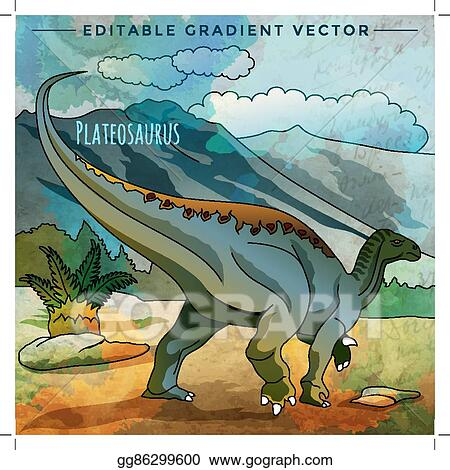 Vector Clipart Dinosaur In The Habitat Vector Illustration Of