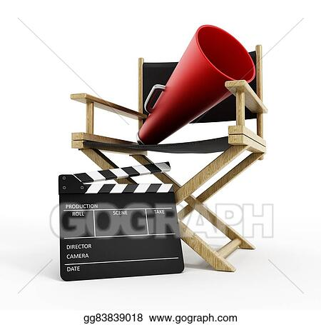 Director chair film slate and load horn  sc 1 st  GoGraph & Stock Illustration - Director chair film slate and load horn ...