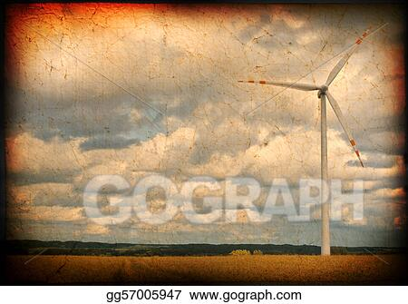 Clipart Dirty Background With Windmill Motive Stock Illustration Gg57005947 Gograph