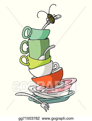 vector stock dirty dishes clipart illustration gg71503782 gograph rh gograph com dirty dishes clipart no dirty dishes day clipart