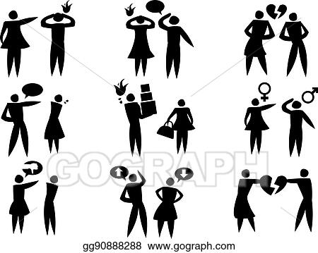 Eps Vector Disagreement Between Man Woman In Relationships Vector Icon Set Stock Clipart Illustration Gg90888288 Gograph