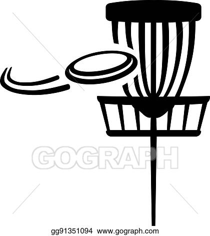 eps vector disc golf basket with flying frisbee stock clipart rh gograph com disk golf clip art disc golf pictures clip art