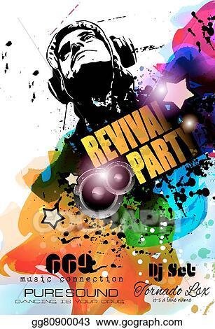 eps illustration disco night club flyer layout with dj shape