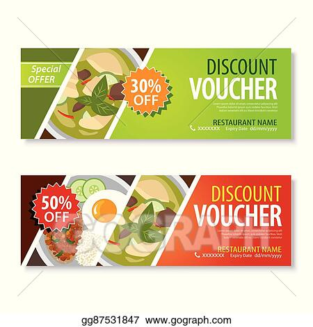 Vector Clipart - Discount voucher template with thai food flat ...