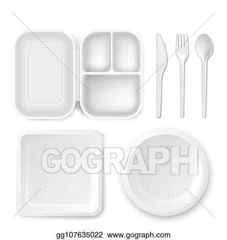 Stock Illustration Disposable Plastic Dishware