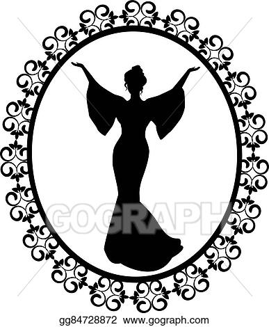 Vector Stock Diva In A Carved Vintage Frame Stock Clip Art