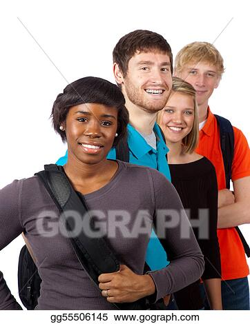 Pictures Diverse Group Of College Students Stock Photo