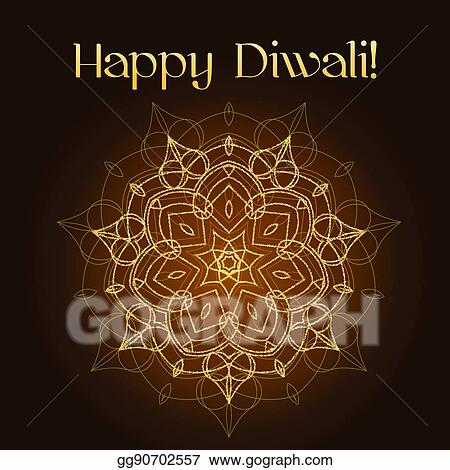 Eps illustration diwali festival greeting card with gold glitter diwali festival greeting card with gold glitter texture and mandala m4hsunfo