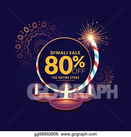 diwali festival sale template background with cracker and diya
