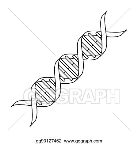 EPS Vector - Dna code icon in outline style isolated on