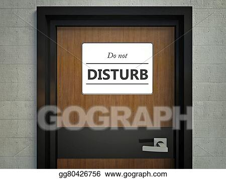 stock illustration do not disturb sign hanging on a office door