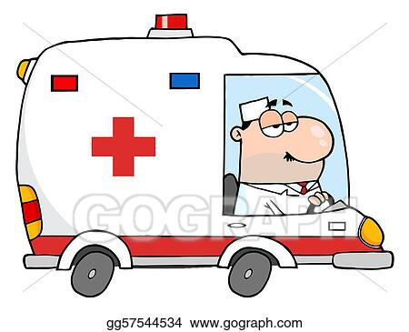 vector art doctor driving ambulance clipart drawing gg57544534 rh gograph com ambulance clipart gif ambulance clipart black and white