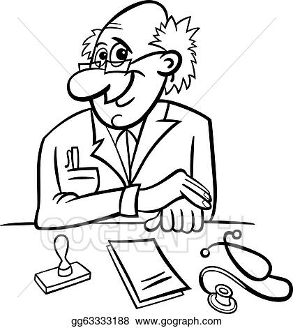 Vector Clipart Doctor in clinic black and white cartoon Vector