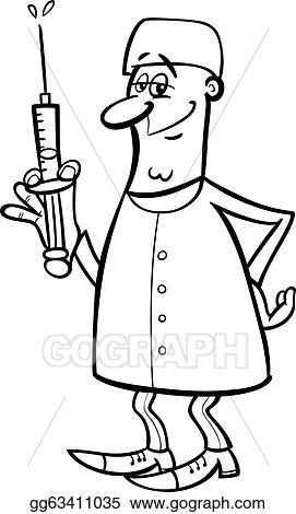 Vector Stock Doctor or surgeon black and white cartoon Clipart