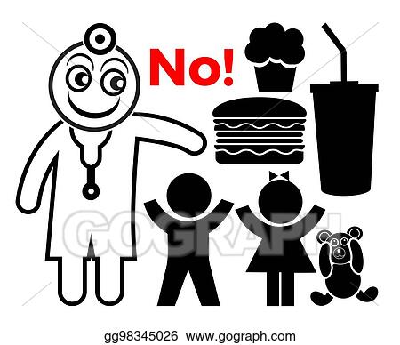 Stock Illustrations - Doctor say no to junk food  Stock