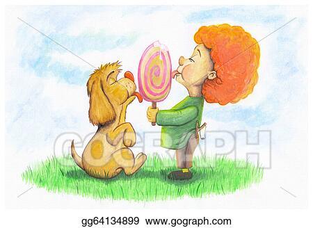 Stock Illustration Dog And Boy Eating Ice Cream Clip Art