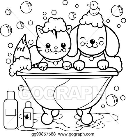 Vector Clipart Dog And Cat Taking A Bath Coloring Book Page