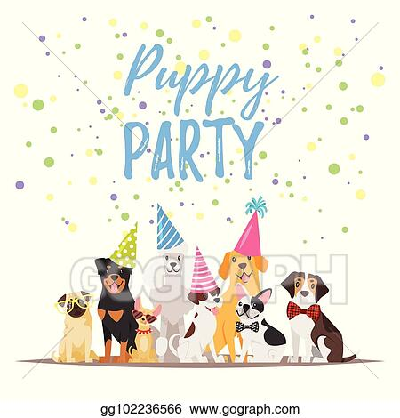 Vector Clipart Dog Birthday Party Greeting Card Vector