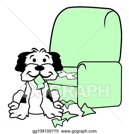 Vector Illustration Dog Destroying Sofa Chair Eps Clipart