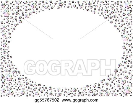 Stock Illustration - Dog or cat paw print paw prints frame. Clipart ...