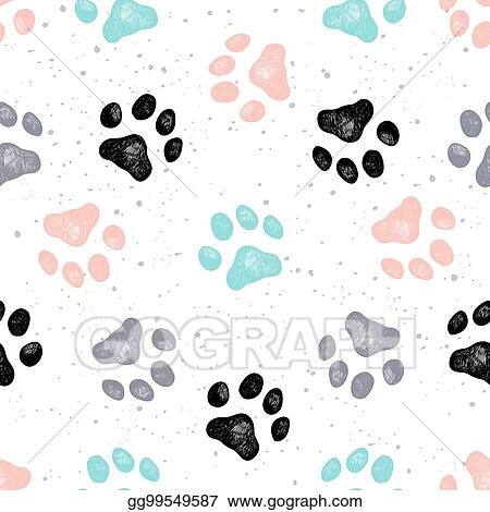 d1824ae99056 Vector Stock - Dog paw print vector vexture. Stock Clip Art ...