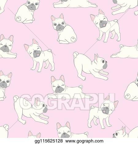 Vector Art Dog Seamless Pattern French Bulldog Paw Vector Repeat