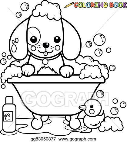 EPS Illustration - Dog taking a bath coloring page. Vector Clipart ...