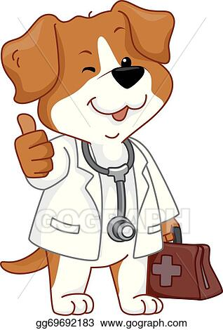 vector clipart dog vet thumbs up vector illustration gg69692183 rh gograph com veterinary clip art free veterinarian cartoon clipart