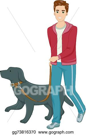 eps illustration dog walk vector clipart gg73816370 gograph gograph