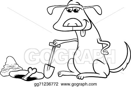 Vector Art Dog With Bone Cartoon Coloring Page Clipart Drawing Gg71236772 Gograph