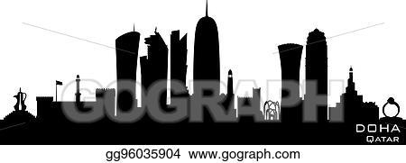 Vector Art - Doha qatar city skyline vector silhouette  Clipart