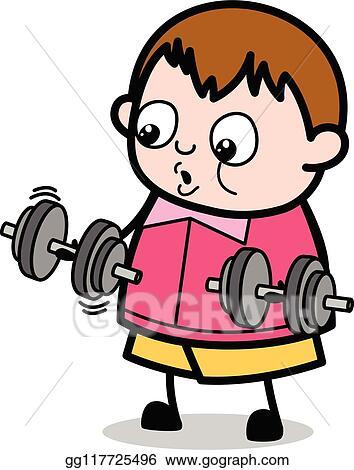 Eps Vector Doing Exercise Teenager Cartoon Fat Boy Vector Illustration Stock Clipart Illustration Gg117725496 Gograph