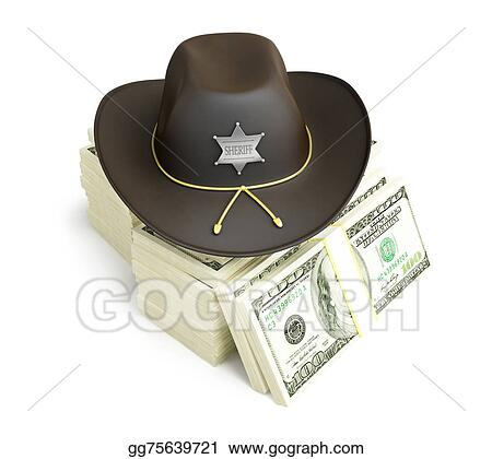 dace1ee8 Stock Photos - Dollar sheriff hat on a white background . Stock ...