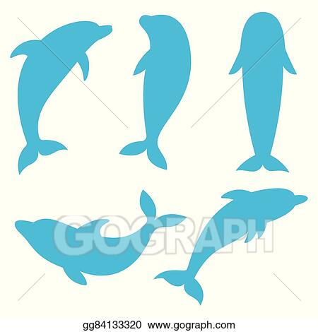 vector art dolphin silhouettes on the white background swimming