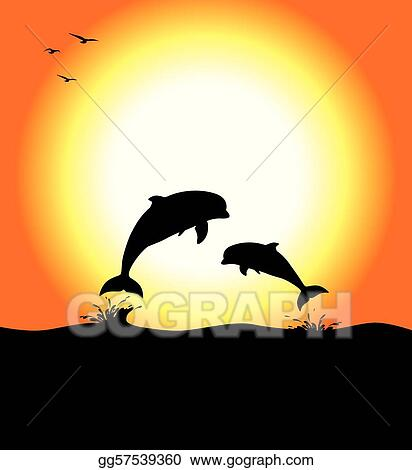 vector art dolphins at sunset clipart drawing gg57539360 gograph rh gograph com clipart sunset cruise clipart sunset images