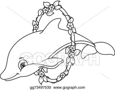 Clip Art Vector Dolphins Coloring Page Stock Eps Gg73497535 Gograph