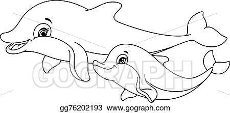Clip Art Vector Dolphins Coloring Page Stock Eps Gg76202193 Gograph