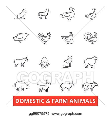 Vector Art - Domestic farm animals line icons  cow, dog, cat, donkey
