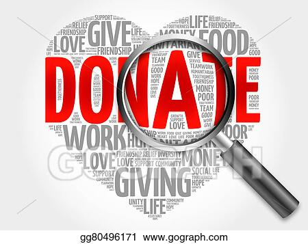 stock illustration donate word cloud with magnifying glass clip